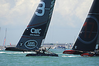 Land Rover BAR, JULY 23, 2016 - Sailing: Close racing between Land Rover BAR and Oracle Team USA during day one of the Louis Vuitton America's Cup World Series racing, Portsmouth, United Kingdom. (Photo by Rob Munro/Stewart Communications)