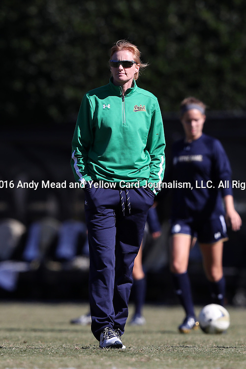 23 October 2016: Notre Dame head coach Theresa Romagnolo. The Wake Forest University Demon Deacons hosted the University of Notre Dame Fighting Irish at Spry Stadium in Winston-Salem, North Carolina in a 2016 NCAA Division I Women's Soccer match. Notre Dame won the game 1-0.