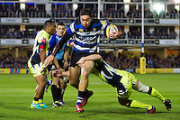 Matt Banahan of Bath Rugby takes on the Sale Sharks defence. Aviva Premiership match, between Bath Rugby and Sale Sharks on October 7, 2016 at the Recreation Ground in Bath, England. Photo by: Patrick Khachfe / Onside Images