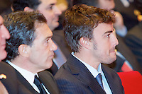 Formula one driver Fernando Alonso and actor Antonio Banderas during the ceremony to designate ambassadors of the Brand Spain. February 12, 2013. (ALTERPHOTOS/Alvaro Hernandez) /NortePhoto