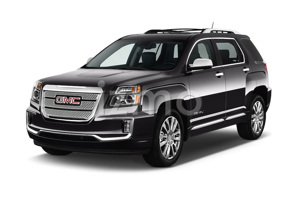 2017 GMC Terrain FWD-Denali 5 Door SUV Angular Front stock photos of front three quarter view