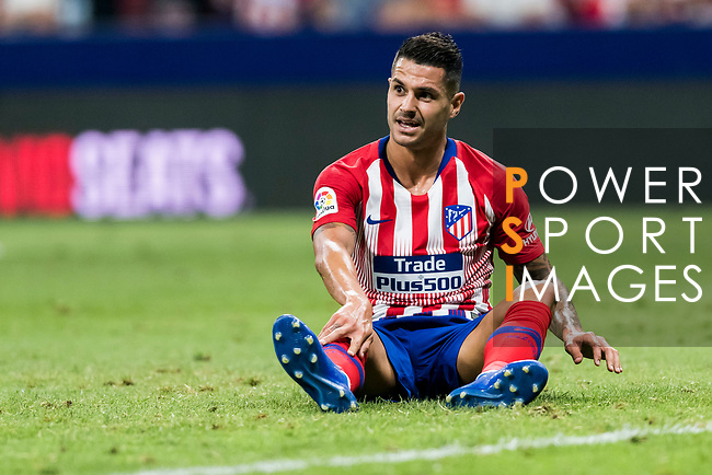 Victor Machin, Vitolo, of Atletico de Madrid reacts sitting on the field during their International Champions Cup Europe 2018 match between Atletico de Madrid and FC Internazionale at Wanda Metropolitano on 11 August 2018, in Madrid, Spain. Photo by Diego Souto / Power Sport Images