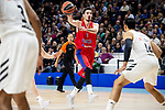 Real Madrid Gustavo Ayon and CSKA Moscow Nando de  Colo during Turkish Airlines Euroleague match between Real Madrid and CSKA Moscow at Wizink Center in Madrid, Spain. November 29, 2018. (ALTERPHOTOS/Borja B.Hojas)