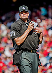 8 July 2017: MLB Umpire Jordan Baker works behind home plate during a game between the Washington Nationals and the Atlanta Braves at Nationals Park in Washington, DC. The Braves shut out the Nationals 13-0 to take the third game of their 4-game series. Mandatory Credit: Ed Wolfstein Photo *** RAW (NEF) Image File Available ***