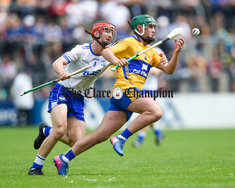 Kealan Guyler of Clare  in action against Ryan Tierney of Waterford during their Munster  championship round robin game at Cusack Park Photograph by John Kelly.