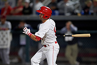 Auburn Doubledays Jake Alu (9) bats during a NY-Penn League game against the Mahoning Valley Scrappers on August 27, 2019 at Falcon Park in Auburn, New York.  Auburn defeated Mahoning Valley 3-2 in ten innings.  (Mike Janes/Four Seam Images)