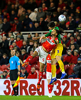 Preston North End's Josh Earl battles with Middlesbrough's Ryan Shotton<br /> <br /> Photographer Alex Dodd/CameraSport<br /> <br /> The EFL Sky Bet Championship - Middlesbrough v Preston North End - Wednesday 13th March 2019 - Riverside Stadium - Middlesbrough<br /> <br /> World Copyright &copy; 2019 CameraSport. All rights reserved. 43 Linden Ave. Countesthorpe. Leicester. England. LE8 5PG - Tel: +44 (0) 116 277 4147 - admin@camerasport.com - www.camerasport.com