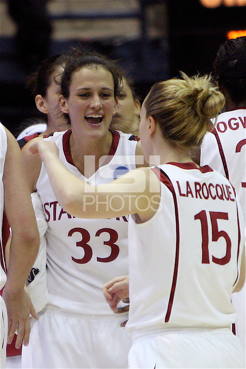 BERKELEY, CA - MARCH 30: Jillian Harmon and Lindy LaRocque celebrate during Stanford's 74-53 win against the Iowa State Cyclones on March 30, 2009 at Haas Pavilion in Berkeley, California.