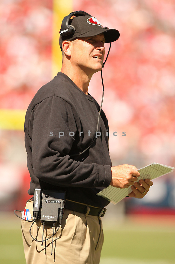 San Francisco 49ers Jim Harbaugh (HC) during a game against the Kansas City Chiefs on October 5, 2014 at Levi's Stadium in Santa Clara, CA. the 49ers beat the Chiefs 22-17.