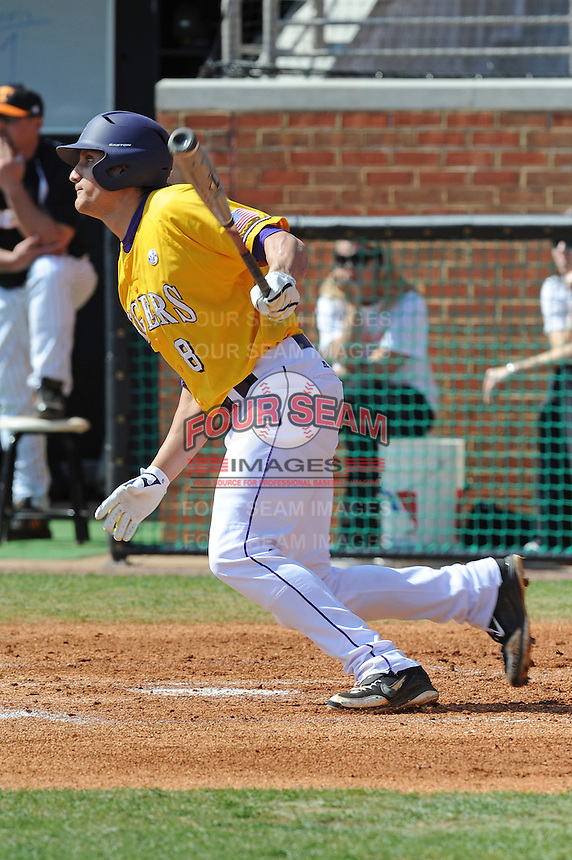 Mikie Mahtook #8 of the LSU Tigers at Lindsey Nelson Stadium in game against Tennessee Volunteers in Knoxville, TN March 27, 2010 (Photo by Tony Farlow/Four Seam Images)