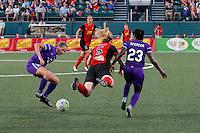 Rochester, NY - Saturday June 11, 2016: Western New York Flash midfielder Samantha Mewis (5), Orlando Pride forward Jasmyne Spencer (23) during a regular season National Women's Soccer League (NWSL) match between the Western New York Flash and the Orlando Pride at Rochester Rhinos Stadium.