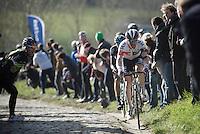 Dries Devenyns (BEL/IAM) up the Paterberg<br /> <br /> E3 - Harelbeke 2016