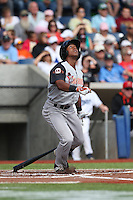 Richard Amion (1) of the Salem-Keizer Volcanoes bats during a game against the Hillsboro Hops at Ron Tonkin Field on July 26, 2015 in Hillsboro, Oregon. Hillsboro defeated Salem-Keizer, 4-3. (Larry Goren/Four Seam Images)