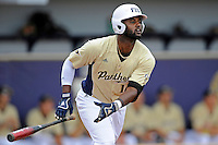 4 March 2012:  FIU outfielder Pablo Bermudez (12) runs to first early in the game as the FIU Golden Panthers defeated the Brown University Bears, 8-3, at University Park Stadium in Miami, Florida.