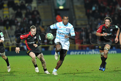 11.12.2010 Sereli Bobo winger of Racing Metro 92 in action during the ERC Heineken Cup Pool 2 Rugby match  from Vicarage Road. Saracens v Racing Metro 92.