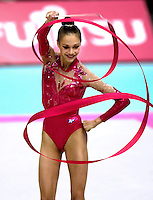 03 OCTOBER 1999 - OSAKA, JAPAN: Irina Tchachina of Russia performs with Ribbon at the 1999 World Championships in Osaka, Japan.