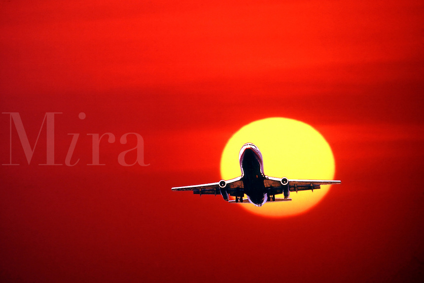Commercial jet and beautiful sunset