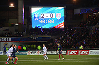 Lorient, France. - Sunday, February 8, 2015:  The scoreboard shows the final score. France defeated the USWNT 2-0 during an international friendly at the Stade du Moustoir.