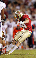 TALLAHASSEE, FL 11/19/11-FSU-UVA111911 CH-Florida State's Dustin Hopkins makes the Seminole's second field goal against Virginia during second half action Saturday at Doak Campbell Stadium in Tallahassee. The Seminoles lost to the Cavaliers 14-13..COLIN HACKLEY PHOTO