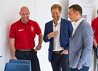 Picture by Paul Currie/SWpix.com - 04/09/2017 - Rugby League - Prince Harry Visits the Rugby  League - Manchester City Football Academy, Manchester, England - Prince Harry talks to Garry Miller and Kevin Sinfield
