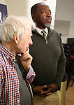 """Austin Pendleton and Chuck Cooper during the MTC Broadway Cast Call for """"Choir Boy"""" at The MTC Rehearsal Studios on November 20, 2018 in New York City."""