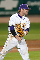 LSU Tigers third baseman Tyler Hanover #11 celebrates after making an outstanding defensive play against the Mississippi State Bulldogs at the NCAA baseball game on March 16, 2012 at Alex Box Stadium in Baton Rouge, Louisiana. LSU defeated Mississippi State 3-2 in 10 innings. (Andrew Woolley / Four Seam Images)..
