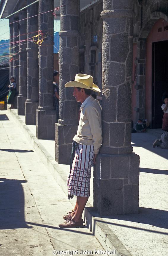 Tzutuhil Maya man wearing traditional clothing in Santiago Atitlan, Guatemala