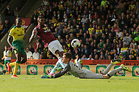 Wesley of Aston Villa has the rebound from the penalty saved during Norwich City vs Aston Villa, Premier League Football at Carrow Road on 5th October 2019