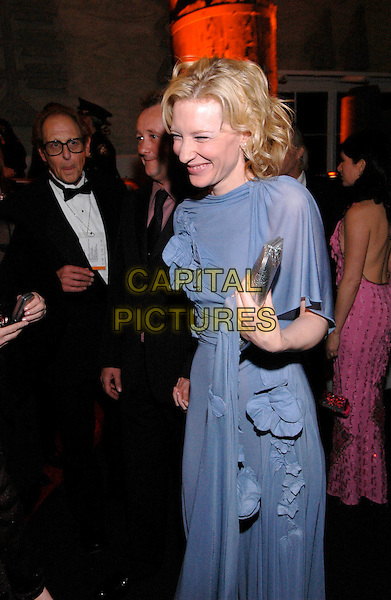 CATE BLANCHETT.62nd Annual Golden Globe Awards, Beverly Hills, Los Angeles, California.January 16th, 2005.half length, silver clutch purse, bag, blue dress, sheer, silk, laughing, smiling.www.capitalpictures.com.sales@capitalpictures.com.Supplied by Capital Pictures.