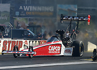 Mar 28, 2014; Las Vegas, NV, USA; NHRA top fuel dragster driver Steve Torrence during qualifying for the Summitracing.com Nationals at The Strip at Las Vegas Motor Speedway. Mandatory Credit: Mark J. Rebilas-USA TODAY Sports
