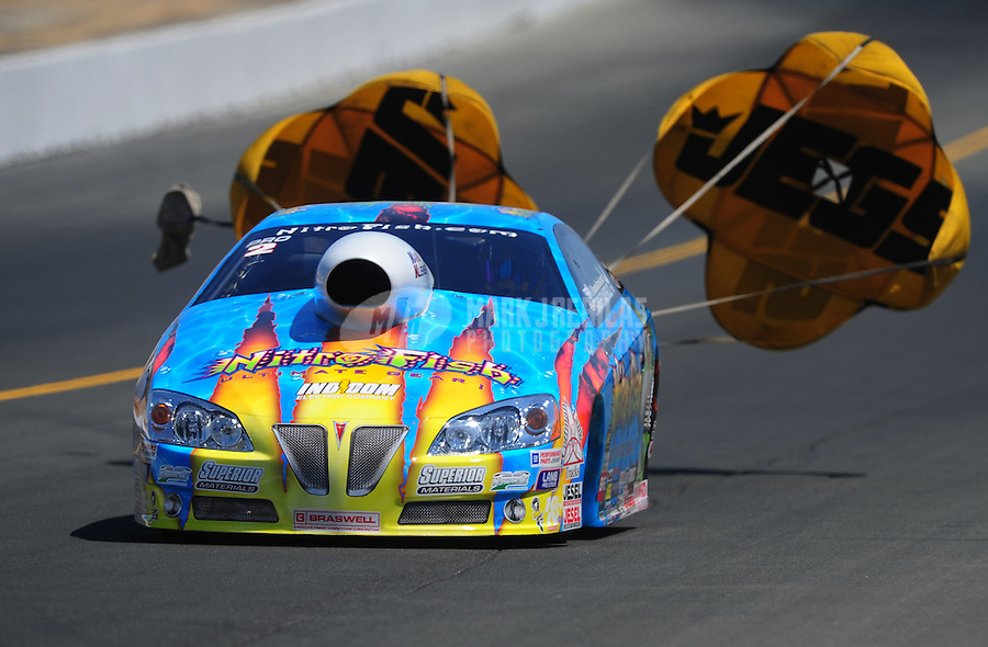 Jul. 30, 2011; Sonoma, CA, USA; NHRA pro stock driver Greg Stanfield during qualifying for the Fram Autolite Nationals at Infineon Raceway. Mandatory Credit: Mark J. Rebilas-