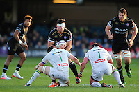 Francois Louw of Bath Rugby takes on the Pau defence. European Rugby Challenge Cup match, between Bath Rugby and Pau (Section Paloise) on January 21, 2017 at the Recreation Ground in Bath, England. Photo by: Patrick Khachfe / Onside Images