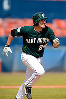 Dartmouth Big Green infielder Dustin Selzer (24) during a game against the Long Island Blackbirds at Chain of Lakes Stadium on March 17, 2013 in Winter Haven, Florida.  Dartmouth defeated UAB 11-4.  (Mike Janes/Four Seam Images)