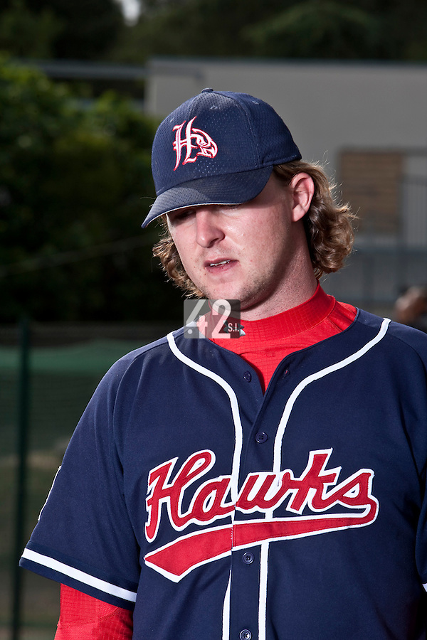 23 May 2009: Kyle Gruver of La Guerche is seen during the 2009 challenge de France, a tournament with the best French baseball teams - all eight elite league clubs - to determine a spot in the European Cup next year, at Montpellier, France. Rouen wins 6-2 over La Guerche.