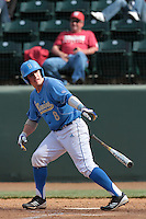 Tyler Heineman #8 of the UCLA Bruins bats against the Washington State Cougars at Jackie Robinson Stadium on March 24, 2012 in Los Angeles,California. UCLA defeated Washington 12-3.(Larry Goren/Four Seam Images)