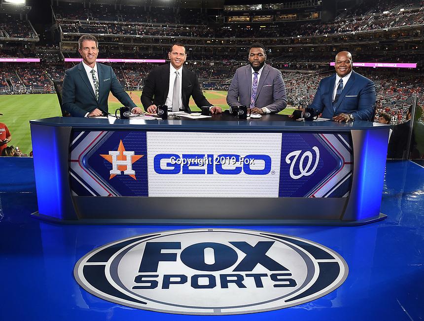WASHINGTON DC - OCTOBER 27: Kevin Burkhardt, Alex Rodriguez, David Ortiz, and Frank Thomas at World Series Game 5: Houston Astros at Washington Nationals on Fox Sports at Nationals Park on October 27, 2019 in Washington, DC. (Photo by Frank Micelotta/Fox Sports/PictureGroup)