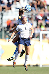 02 December 2012: UNC's Katie Bowen (NZL) (behind) heads over Penn State's Emily Hurd (3). The University of North Carolina Tar Heels played the Penn State University Nittany Lions at Torero Stadium in San Diego, California in the 2012 NCAA Division I Women's Soccer College Cup championship game. UNC won the game 4-1.