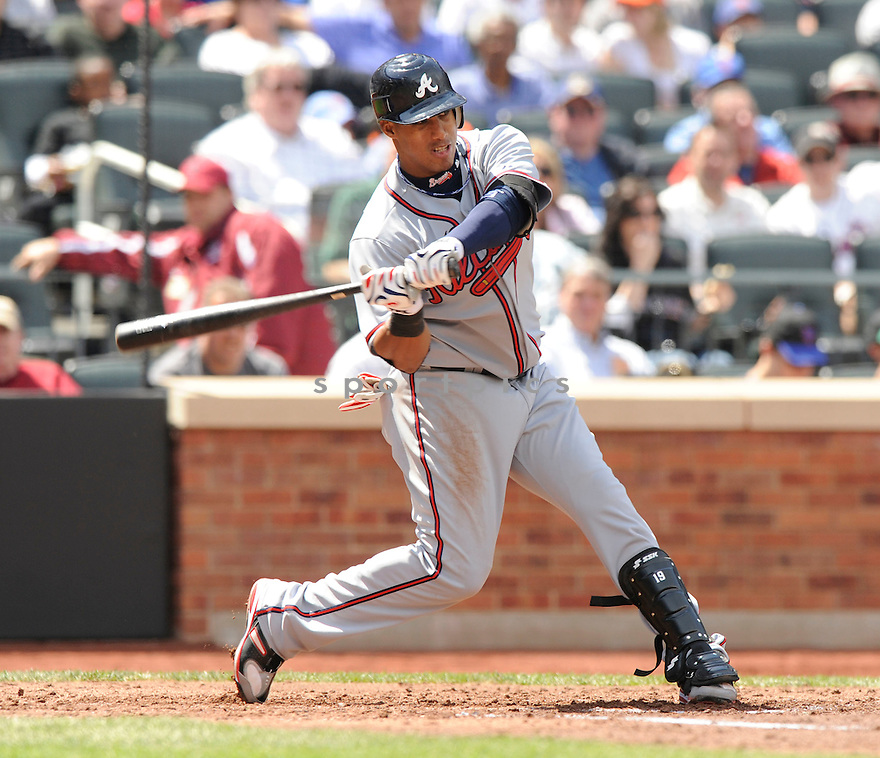 YUNEL ESCOBAR, of the Atlanta Braves, in action during the  Braves game against the New York Mets at CitiField in New York, NY on April 24, 2010...The Mets win 3-1