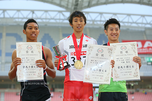 (L to R) <br />   Abdul Hakim Sani Brown, <br /> Kei Takase, <br /> Sota Kawatsura, <br /> JUNE 28, 2015 - Athletics : <br /> The 99th Japan Track &amp; Field National Championships <br /> Men's 100m Award Ceremony <br /> at Denka Big Swan Stadium, Niigata, Japan. <br /> (Photo by YUTAKA/AFLO SPORT)