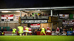 """© Joel Goodman - 07973 332324 . 14/11/2015 . Manchester , UK . Banners reading """" Makin friends not millionaires """" and """" FC United against racism """" hanging from the media gantry . FC United host Gainsborough Trinity in the National League North at Broadhurst Park . NB requested changing room access three times and was denied three times . Photo credit : Joel Goodman"""