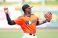 Erie Seawolves Third Baseman Audy Ciriaco (24) during a game vs. the Trenton Thunder at Jerry Uht Park in Erie, Pennsylvania;  June 24, 2010.   Trenton defeated Erie 11-2  Photo By Mike Janes/Four Seam Images