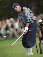 Payne Stewart chipping during the U.S.Open at the Olympic Club in San Francisco. Ca. Stewart finished 2nd to Lee Janzen. (photo by Ron Riesterer)