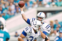 January 01, 2012:  Indianapolis Colts quarterback Dan Orlovsky (6) throws a pass while running back Donald Brown (31) blocks during first half action between the Jacksonville Jaguars and the Indianapolis Colts played at EverBank Field in Jacksonville, Florida.  ........