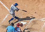 20 May 2018: Los Angeles Dodgers right fielder Yasiel Puig in action against the Washington Nationals at Nationals Park in Washington, DC. The Dodgers defeated the Nationals 7-2, sweeping their 3-game series. Mandatory Credit: Ed Wolfstein Photo *** RAW (NEF) Image File Available ***