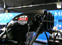 Jun 9, 2017; Englishtown , NJ, USA; Detailed view of a Speed Society sticker on the injector scoop for the dragster of NHRA top fuel driver Leah Pritchett during qualifying for the Summernationals at Old Bridge Township Raceway Park. Mandatory Credit: Mark J. Rebilas-USA TODAY Sports