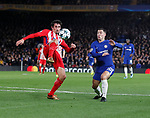 Stefan Savic of Atletico Madrid clears under pressure from Eden Hazard of Chelsea during the Champions League Group C match at the Stamford Bridge, London. Picture date: December 5th 2017. Picture credit should read: David Klein/Sportimage