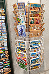 Display rack of souvenir picture postcards city of Evora, Alto Alentejo, Portugal