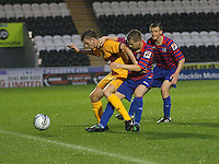 Dale Shirkin shields the ball from Jamie McKernon (centre) and Paul McGinn in the St Mirren v Motherwell Clydesdale Bank Scottish Premier League U20 match played at St Mirren Park, Paisley on 10.9.12..