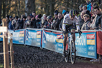 World Champion Wout van Aert (BEL/Crelan Charles) <br /> <br /> men's elite race<br /> Flandriencross Hamme / Belgium 2017