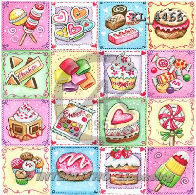 Interlitho, BIRTHDAY, paintings+++++,cupcakes,lollies,choco,KL4466,#bi# napkins stickers ,everyday ,everyday